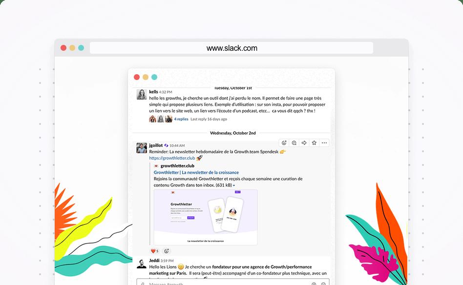 Visuel de l'outil de communauté slack_Formation