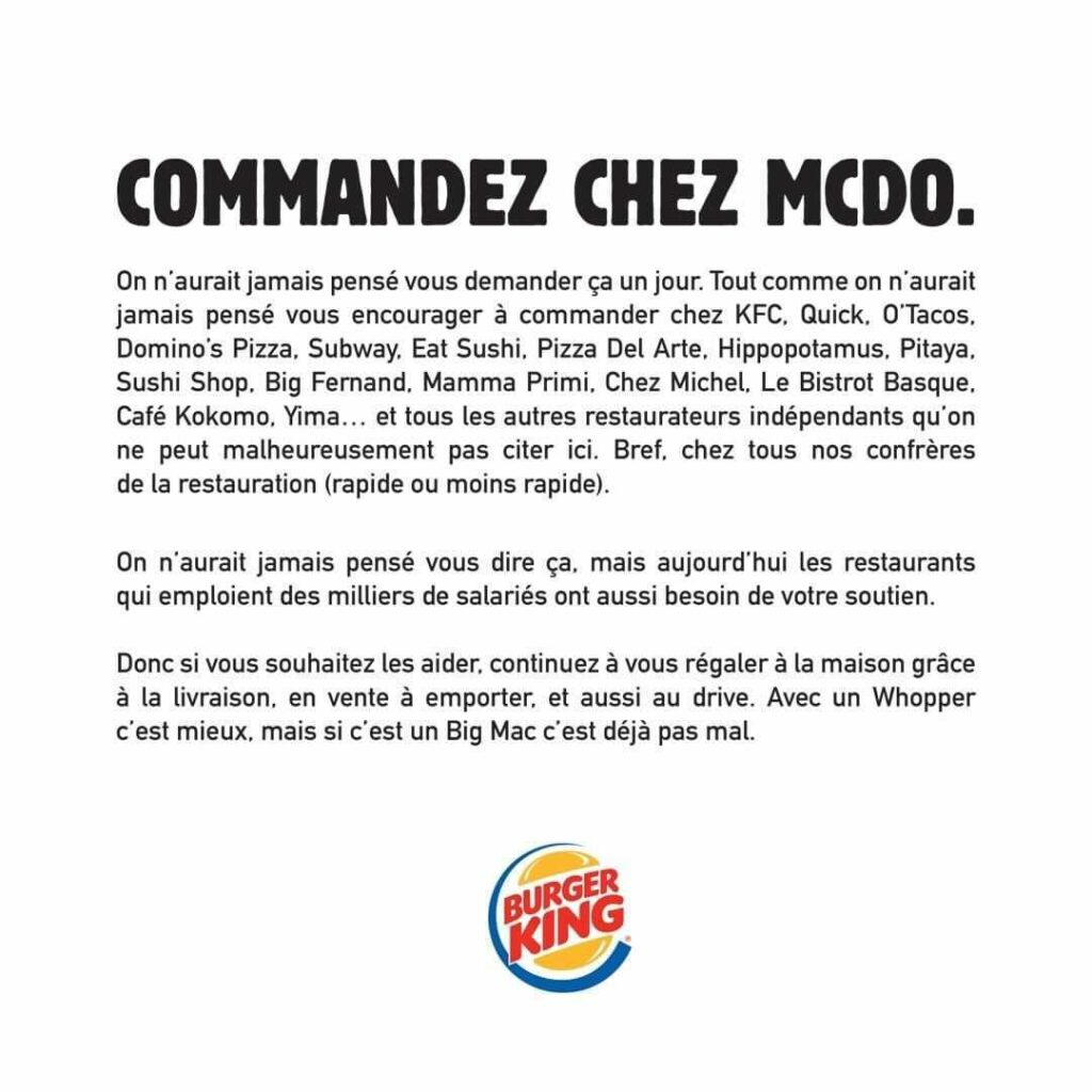 communication burger king commander chez Mc Do, article growth hacking et réseaux sociaux